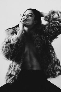cigarettes and fur | fashion editorial | smoke | black & white |