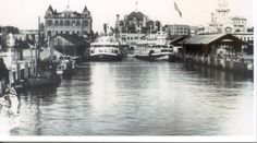 Downtown Stockton Waterfront early 1900's.  From left - Masonic Temple, Hotel Stockton, Courthouse.