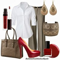 Work Outfits | Burgundy and Gray  white blouse, pants, Christian Louboutin shoes, earrings, belts, Merona Mink bag  by enjoytheview