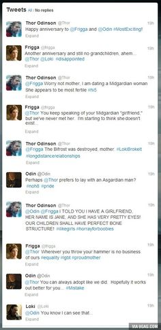 Thor discovers Twitter.
