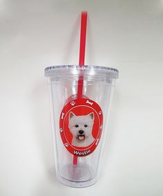 Take a look at this Westie Tumbler & Straw by E & S Imports on #zulily today!