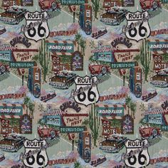 Upholstery Fabric K2466 Route 66 Pattern Tapestry