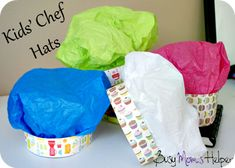 Kids Chef Hats craft from BusyMomsHelper.com So cute, easy and loads of fun! #craft #kids #kidschefhat