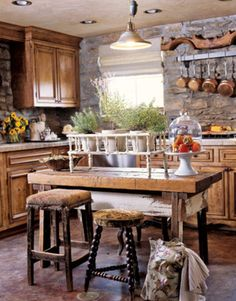 rustic country decor | Rustic Kitchen Decorating Ideas, Rustic Kitchen Design Ideas