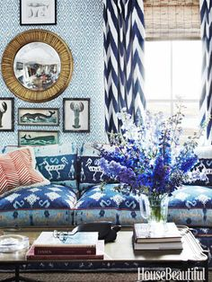 Maine summer house of John Knott and John Fondas. decor, summer hous, interior design, living rooms, mixing patterns, color, live room, blues, curtain