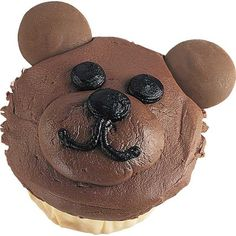 Bear Hug for One - No time for hibernating! This lovable Bear Hug for One cupcake will be busy entertaining kids and adults alike. It's so easy to create with Candy Melts® for ears and Wilton Chocolate Ready-To-Decorate Icing.