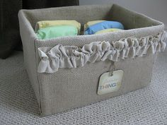 Burlap-covered organizing storage box - made from diaper boxes!