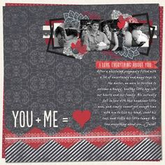 You + Me = Love Digital Scrapbook Layout Project Idea from Creative Memories