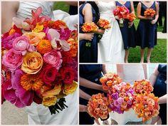 Ranunculus Rose Zinnia Bouquets - Allerton Hotel Chicago Wedding - Scarlet Petal coral pink, warm colors, zinnias, color combos, wedding ideas, zinnia bouquet, weddings, bouquet wedding, flower