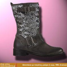 Μποτάκια με παγιέτες μαύρα ή γκρι, Fifth Avenue    ΑΠΟ 129€ - ΤΩΡΑ 105€    shop online >> http://www.styledropper.com/tsouderos?pid=16570=el