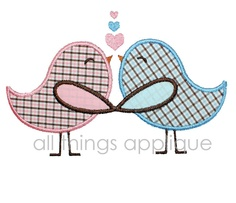 Love Birds Valentine Applique Design