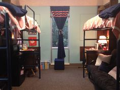 Dorm - love this layout! Loft beds, with a tv under one and a couch under the other @Anna Totten Totten South