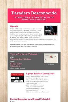 'Paradero Desconocido' Pecios Especiales Grupos Teatro Zorrilla. VALLADOLID