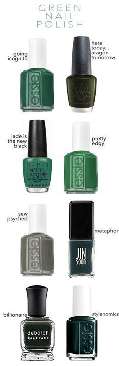 Favorite Nail Polishes For Fall -- dark army green polish colors