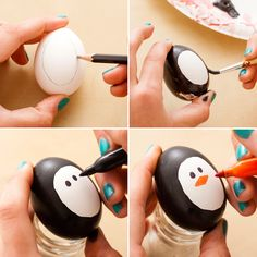 Use black paint and an orange Sharpie to DIY this penguin Easter egg.