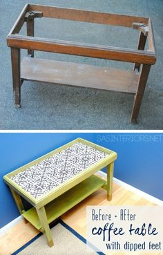 Before & After Coffee Table Revamp with Sunshine yellow Stain by @Cabot Woodcare and gold-dipped legs.  Created by @Jenna_Burger, www.sasinteriors.net...