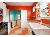 bright kitchen, VCT tiles