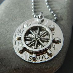 I am the Master of My Fate  I am the Captain of my Soul Necklace with Large Ship Wheel or Anchor. $30.00, via Etsy.