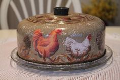 Roosters and Chickens Cake Cover with Glass Plate...Vintage..Collectable..Rooster Kitchen..Rooster Collector..Rooster Decor. $49.95, via Etsy.