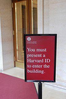 Harvard ID sign