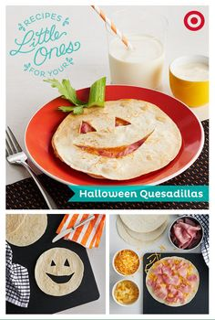 Surprise your little one with a festive Halloween quesadilla. Easy to make, fun to serve and a nice warmup for pumpkin carving.