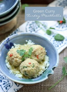 Low Carb Turkey Meatballs in Green Curry Sauce