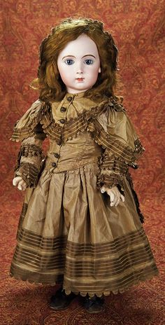 """French Bisque Bebe Triste,Size 13,by Jumeau in Beautiful Bronze Silk Costume 28"""" (71 cm.)"""