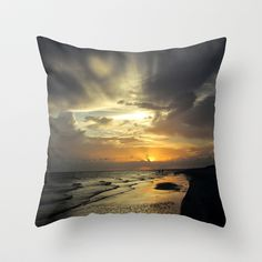 Sanibel Sunset Throw Pillow by Rosie Brown - $20.00  #pillow #throwpillow #photography #sunset #homedecor #beach #seascape #seaoats #tropical #nature #florida