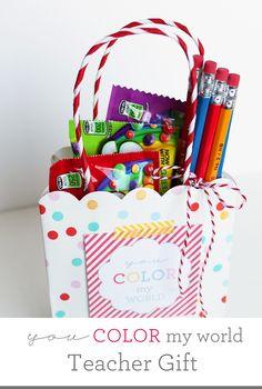 Teacher Gift idea from My Sister's Suitcase: DIY Rainbow Treats & Printables for Spring!