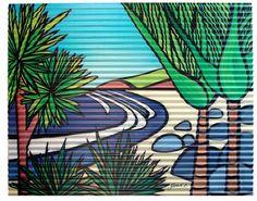 Outdoor Art. Title: Secluded Beach Artist : Sarah C  Medium: Corrugated iron art print.  See www.sarahc.co.nz