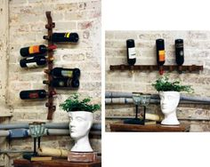 wine racks! wines, wine racks, idea, irons, rustic iron, kitchen, bottles, bottl wall, wall wine