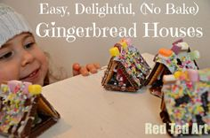 Delightful Gingerbread Houses, so easy and no baking necessary from Red Ted Art christmas crafts, edible crafts, bake gingerbread, christma idea, christma food, christma craft, gingerbread houses, craft ideas, kid crafts