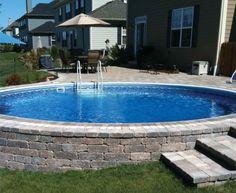 Semi in-ground pool.  LOVE!