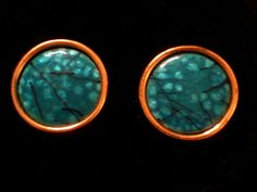 Vintage MATISSE RENOIR Round Mod Blue and Black Enamel and Copper Clip Earrings #MatisseRenoir