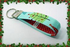 """Christmas Key Fob Key Chain - Riley Blake """"Trees"""" STOCKING STUFFER"""