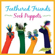 DIY Feather Sock Puppets from The Feather Place  : Crafting with Feathers : #thefeatherplace #craftingwithfeathers #feathers #diyfeathercrafts