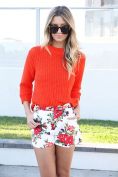 printed shorts and light bright sweater