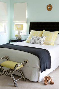 guest room, charcoal, bedroom idea, color, blue yellow master bedroom