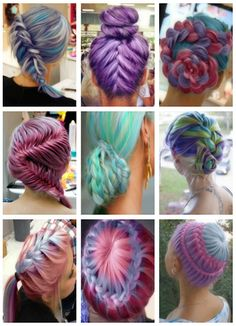 These updos are ridiculous...in a good way, of course.  #braids #colored hair #dyed hair #fancy hair
