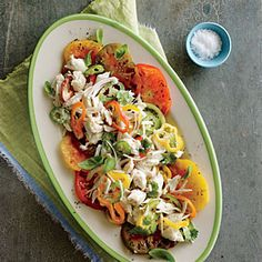 Crab and Heirloom Tomato Salad | Cooking Light #myplate #protein #veggies #dairy