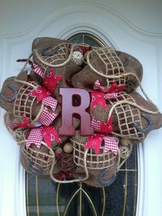 Deco Mesh Wreath Burlap and Red Western Wreath. I just love this! I have to make one for myself.