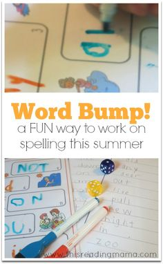 A Fun Way to Write and Practice Spelling Words this Summer {FREE Word Bump!} | This Reading Mama