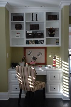 "we're doing a desk in the kitchen between two ""pantries"" nice idea for the upper shelf"