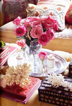 coffee table arragement with fab bouquet