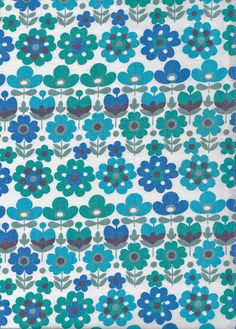 Vintage 1970s Blue/Turquoise Mod Flower Fabric by Pommedejour, $42.00