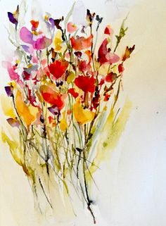 "Wildflowers II - Saatchi Online Artist Karin Johannesson; Painting, ""Wildflowers II"" #art"
