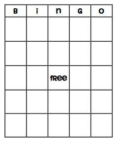Blank bingo card printable
