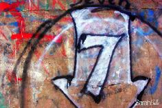 'lucky no.7' photograph placed on canvas. #graffiti
