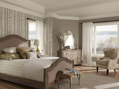 Wake up to a story! This bedroom features gothic arch CSP-80 on the walls, the ceiling and stencil is sea salt CSP-95, while grandma's china CSP-365 was used on the trim, and an accent wall features goldsmith CSP-960. What do you think of the Color Stories picks?