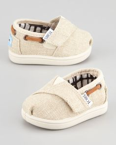 Too cute!!  I would buy these for a boy or a girl!  TOMS Tiny Burlap Bimini Shoe, Natural - Neiman Marcus